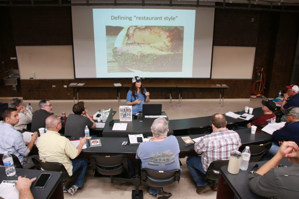 Jess Pryles talking about the comparison between restaurant and competition styles of briskets at Camp Brisket